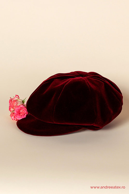 Șepcuță catifea - burgundy