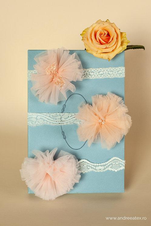 Bentițe botez și moț - roz-barbie/roz-somon/roz-vintage