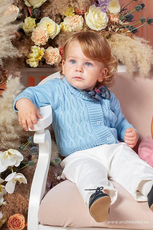 Victor - set botez cu cardigan - bleu (3luni/6 luni/9 luni)