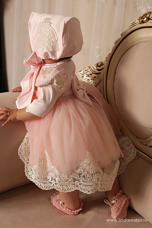 Caroline - mânecă lungă - roz (3luni-4ani)