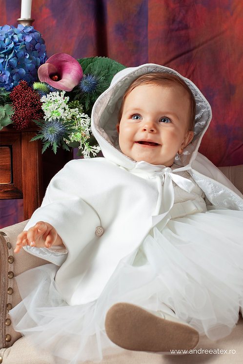 Compleu Lisette (set botez rochiță și capă / 3L-9L) - ivoire