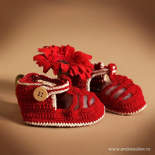 Sandale croșetate Băieței -roșu