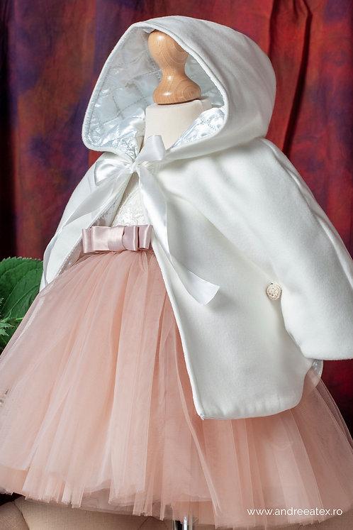 Compleu Lisette (set botez rochiță și capă / 3L-9L) -roz-vintage