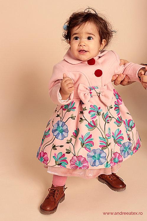 Paltonaș Andreea (2-3-4 ani) -roz/broderie bleu