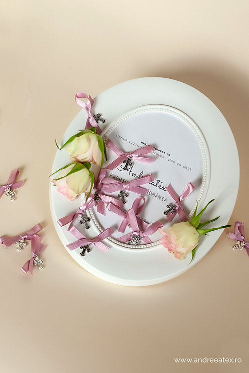 Cruciulițe botez - roz-vintage - set 20buc