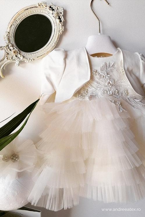Rochiță Josephine - alb-ivoire (set botez)