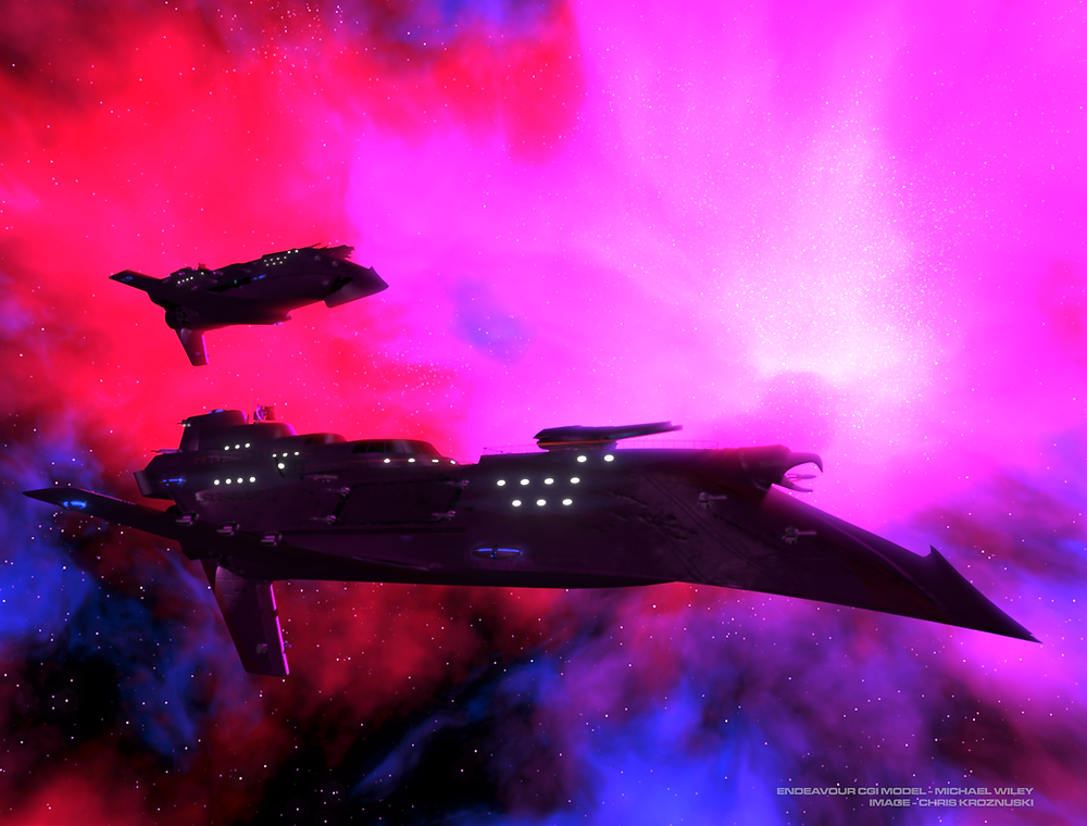 VSN Endeavour and VSN Kennedy on patrol in the Panzer Supernova Remnant.