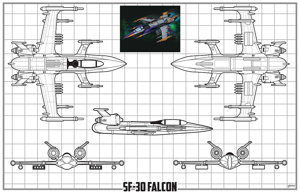 Schematics for the SF-30 Falcon, designed by Sean Tourangeau.