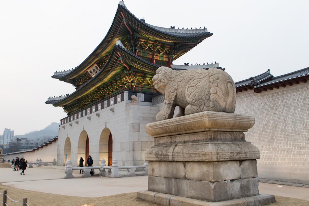 Gwanghwamun gate and Gyeongbok Palace.