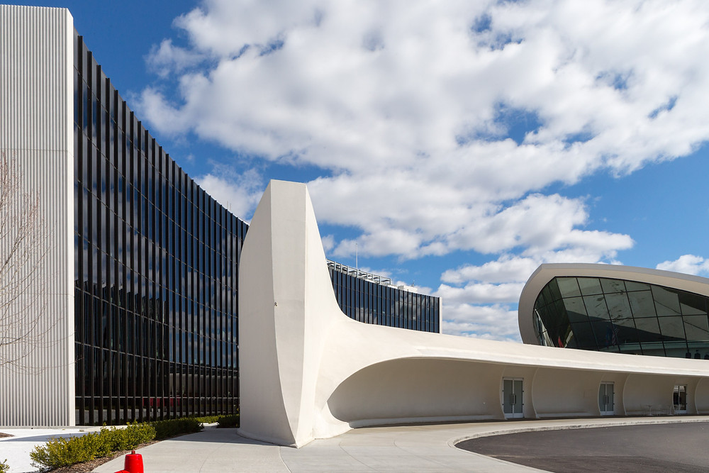 Exterior view of TWA Hotel with rooms