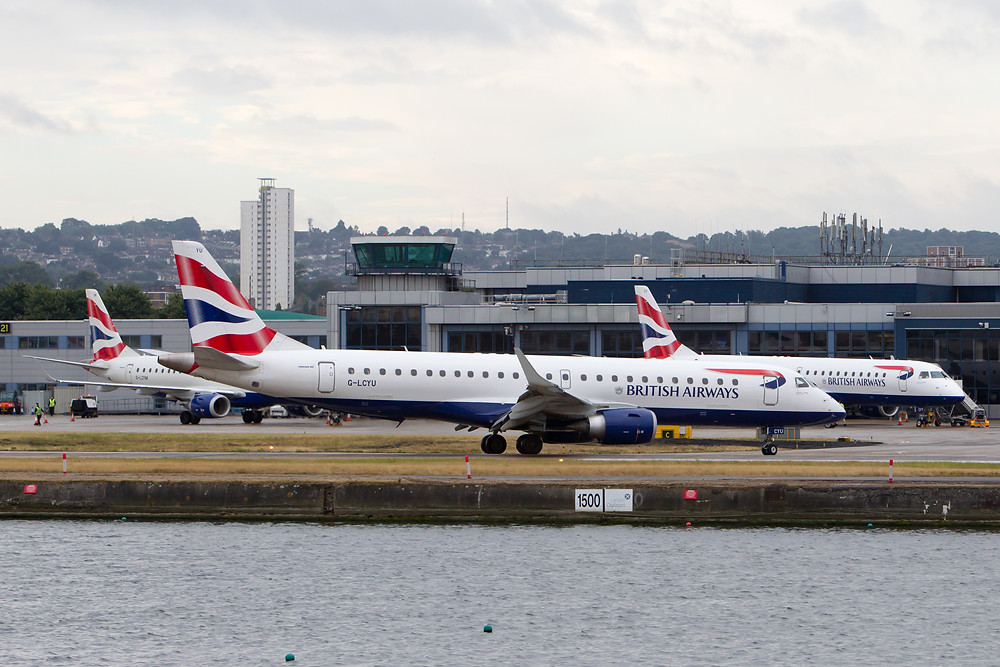 British airways Cityflyer aircraft at London city airport
