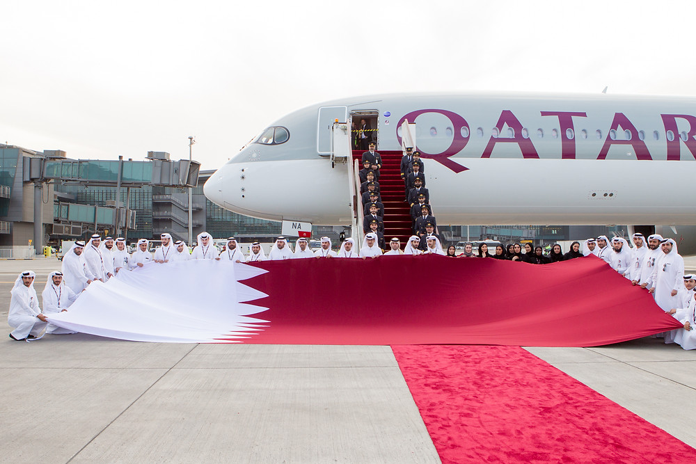 Qatar Airways A350-1000 welcomed on there ground at Doha