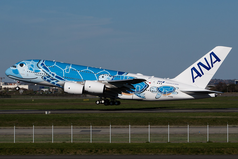 ANA A380 takes off on delivery to Tokyo