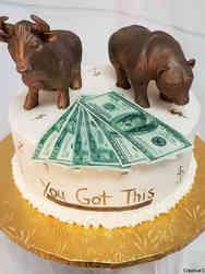 Professional 10 Bull and Bear Celebration Cake