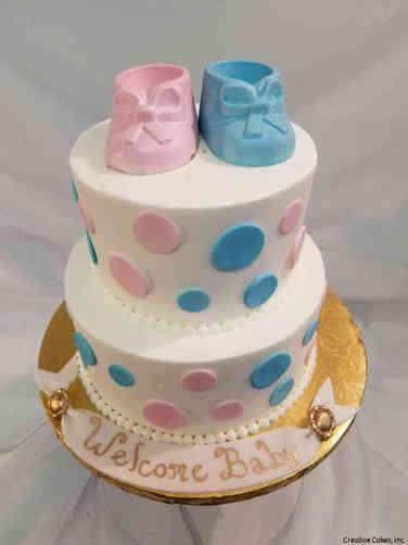 Reveal 15 Baby Booties Gender Reveal Cake