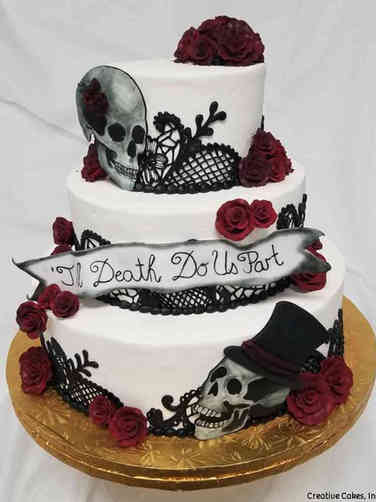 Unique 05 Til Death Do Us Part Gothic Wedding Cake