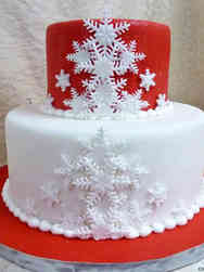 Winter 08 Red and White Snowflakes Holiday Celebration Cake