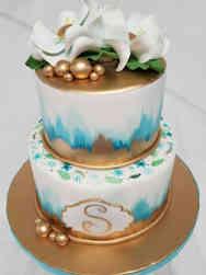 Feminine 08 Watercolors and Magnolia Birthday Cake