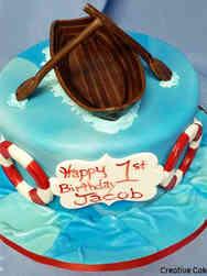 Boys 04 Rowboat First Birthday Cake
