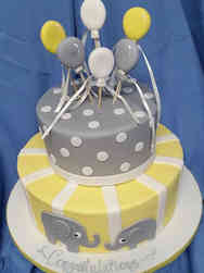 Neutral 02 Elephants and Baloons Baby Shower Cake