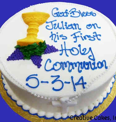 Communion 09 Chalice and Piped Grapes First Communion Cake