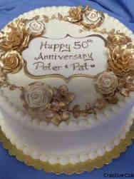Floral 34 Golden Roses 50th Anniversary Cake