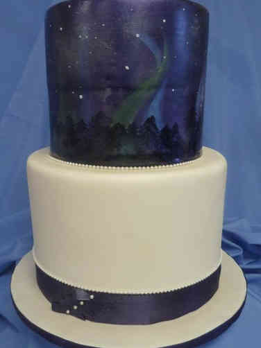 Unique 16 Northern Lights Weding Cake