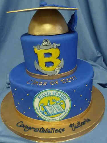 High School 31 Blue and Gold Quilted High School Graduation Cake