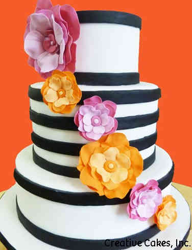 Colorful 06 Modern Stripes Wedding Cake