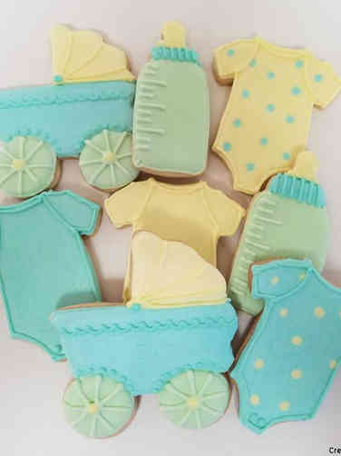 Cookies 07 Blue, Green, and Yellow Baby Shower Cookies