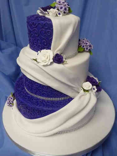 Colorful 13 Draped Purple Wedding Cake