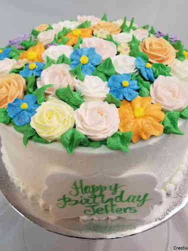 Floral 23 Buttercream Garden Birthday Cake