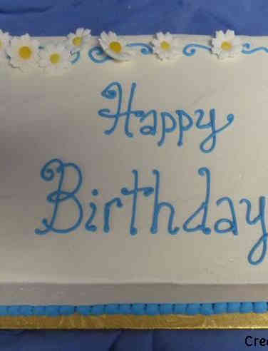 Floral 35 Blue and White Daisy Birthday Cake