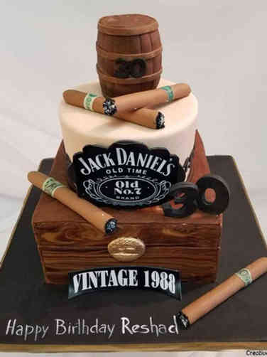 Food 07 Jack Daniel's and Cigars Birthday Cake
