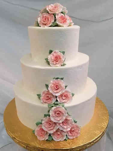 Simple 08 Simply Pink Roses Wedding Cake
