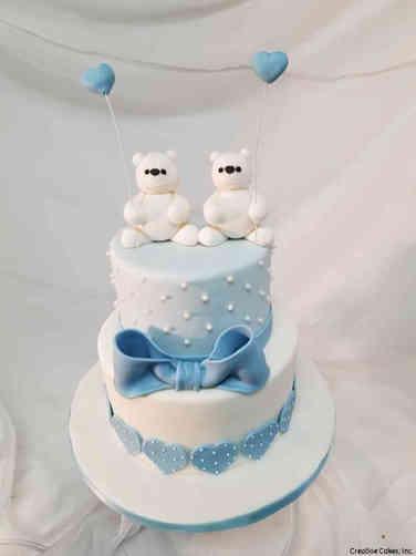 Boys 26 Blue and White Teddy Bears Baby Shower Cake