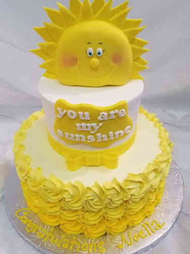 Neutral 22 You Are My Sunshine Baby Shower Cake