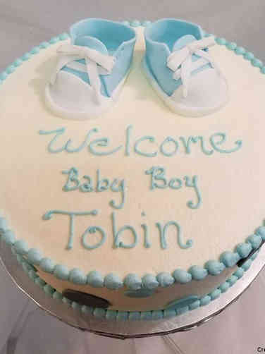 Boys 11 Blue Baby Shoes Baby Shower Cake