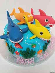 Animals 50 3d Baby Shark Family Birthday Cake