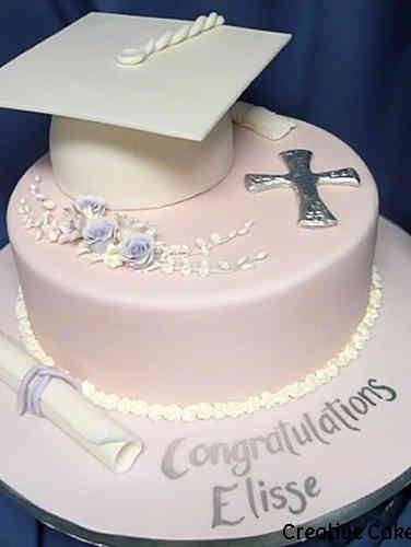 High School 15 Pale Pink and Silver High School Graduation Cake