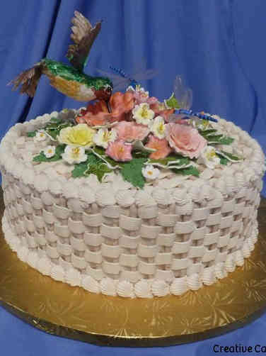 Floral 29 Hummingbird and Dragonfly Basket Birthday Cake