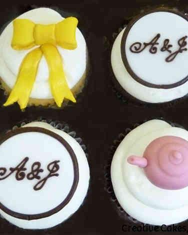 Other 13 Monogram Wedding Shower Cupcakes