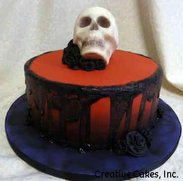Autumn 14 Dripping Skull Halloween Cake