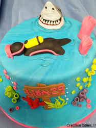 Hobbies 07 Diver and Shark Birthday Cake