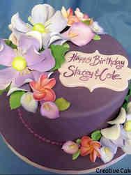 Floral 03 Purple Magnolias Birthday Cake
