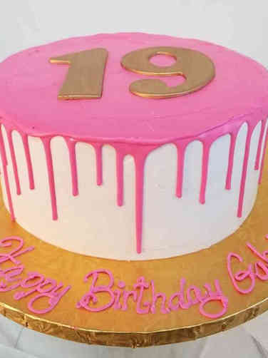 Numbers 16 Pink Drip 19th Birthday Cake