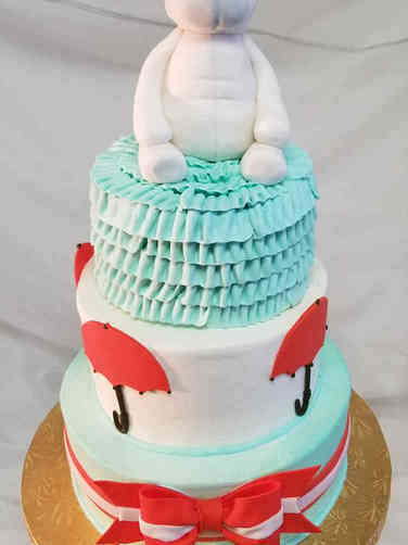 Neutral 52 Mod Aqua and Red Baby Shower Cake