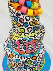 Princesses 07 Rainbow Leopard Print and Bow Birthday Cake