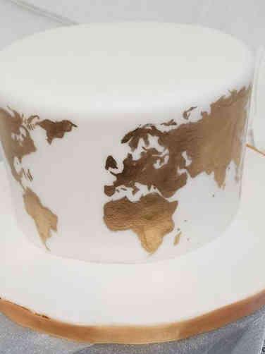 Neutral 11 World Map Baby Shower Cake
