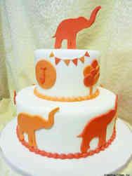 Animals 03 Orange Elephants on Parade Birthday Cake
